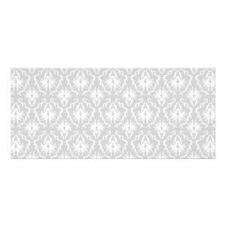 White and Pastel Gray Damask Design. Rack Card