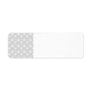 White and Pastel Gray Damask Design. Return Address Label