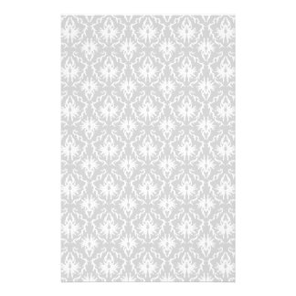 White and Pastel Gray Damask Design. Stationery
