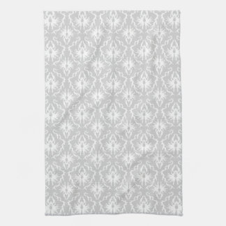 White and Pastel Gray Damask Design. Tea Towel