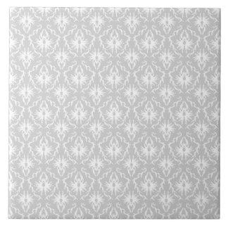 White and Pastel Gray Damask Design. Tile