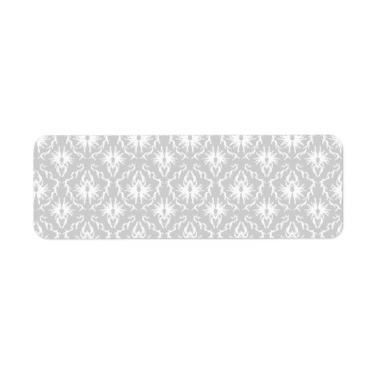 White and Pastel Grey Damask Design. Return Address Label