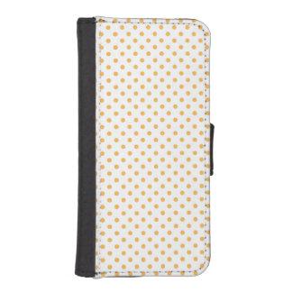 White and Pastel Orange Polka Dots Phone Wallet Case