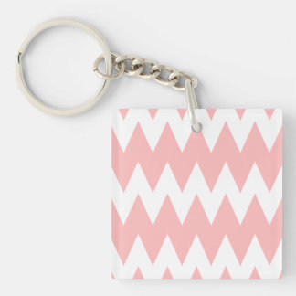 White and Pastel Pink Zigzags. Key Ring