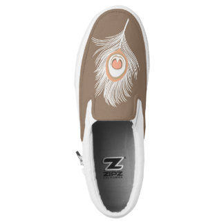 White and Peach Peacock Feather on Taupe Tan Slip-On Shoes