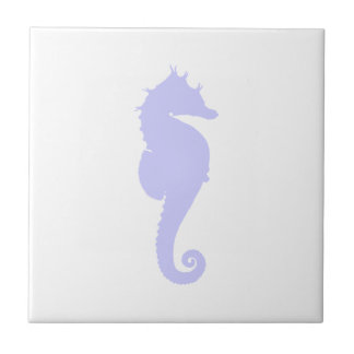 White and Periwinkle Sea Horse Tile