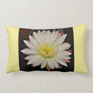 White and Pink Cactus Bloom on Yellow Lumbar Cushion