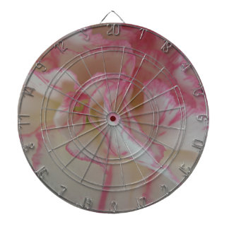 White and Pink Carnation Dart Board