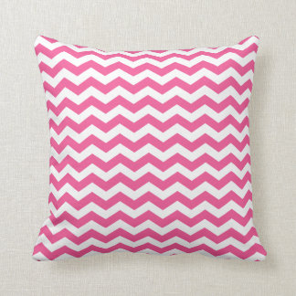 White and Pink Chevron Throw Pillow