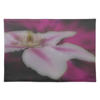 White And Pink Clematis Flower Place Mat