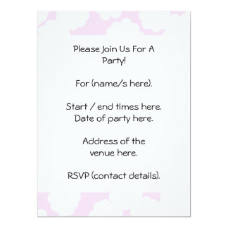 White and Pink Clouds Pattern. 17 Cm X 22 Cm Invitation Card