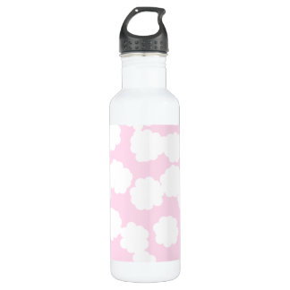 White and Pink Clouds Pattern. 710 Ml Water Bottle
