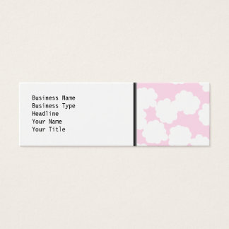 White and Pink Clouds Pattern. Mini Business Card