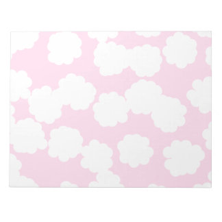 White and Pink Clouds Pattern. Notepad