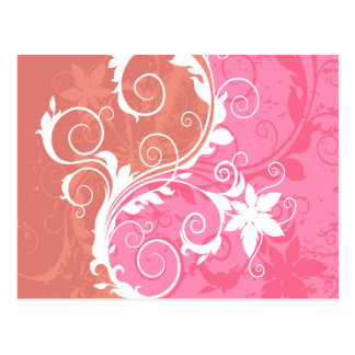 White and Pink Floral Grunge Postcard