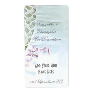 White and pink laced wedding wine bottle shipping label