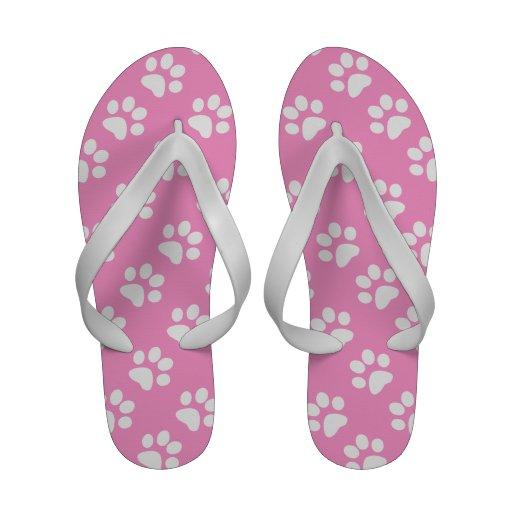 White and Pink Paw Print Pattern Flip Flops