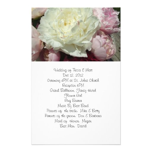 White and Pink Peonies Wedding Program Flyer