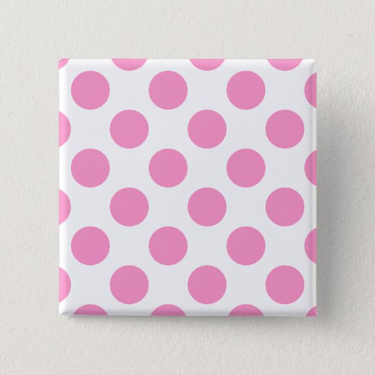 White and Pink Polka Dots 15 Cm Square Badge