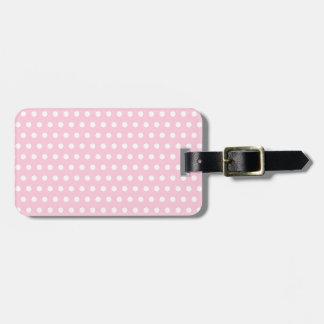 White and Pink Polka Dots Pattern. Bag Tag