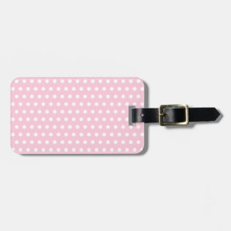 White and Pink Polka Dots Pattern. Luggage Tag