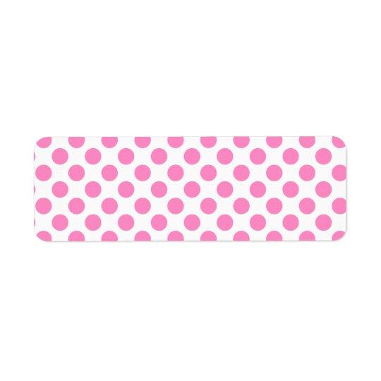 White and Pink Polka Dots Return Address Label