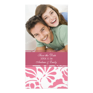 White and Pink Save the Date Wedding Photo Cards