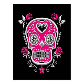 White and Pink Sugar Skull with Roses on Black Postcard