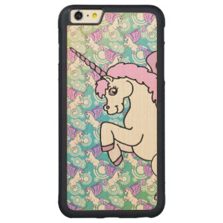 White and Pink Unicorn Carved Maple iPhone 6 Plus Bumper Case