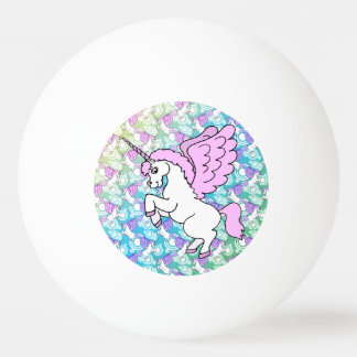 White and Pink Unicorn Ping Pong Ball