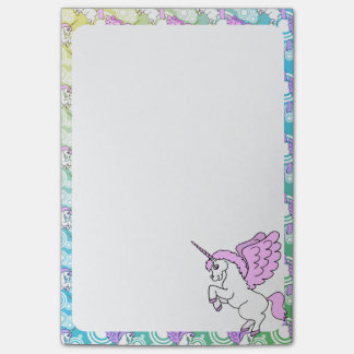 White and Pink Unicorn Post-it Notes
