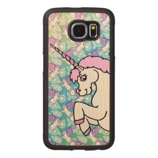 White and Pink Unicorn Wood Phone Case