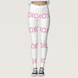 White and pink xo leggings