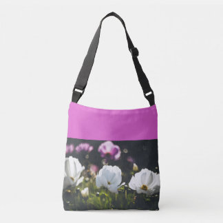 White and purple anemone flowers crossbody bag