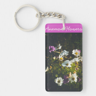White and purple anemone flowers key ring