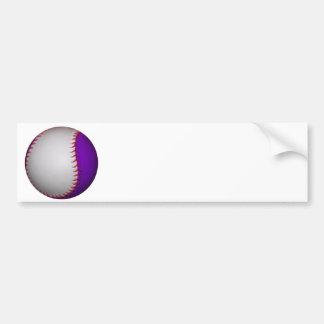 White and Purple Baseball Softball Bumper Sticker