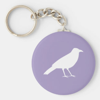 White and Purple Crow Design. Keychains