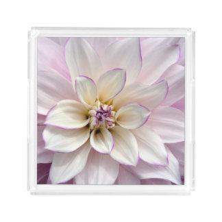 White and purple dahlia acrylic tray
