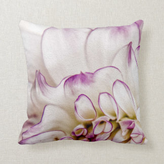 White and Purple Dahlia Flower Pillow
