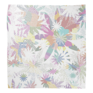 White and Purple Floral Bandanna