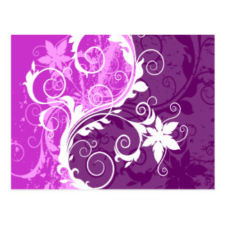 White and Purple Floral Grunge Postcard