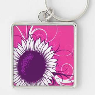 White and Purple Flower on Pink Keychains