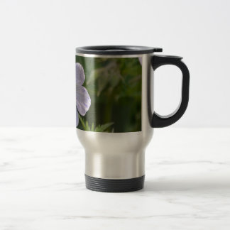 White and purple flower stainless steel travel mug