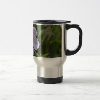 White and purple flower stainless steel travel mug