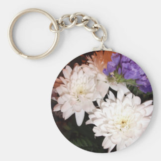 White and Purple Flowers Basic Round Button Key Ring