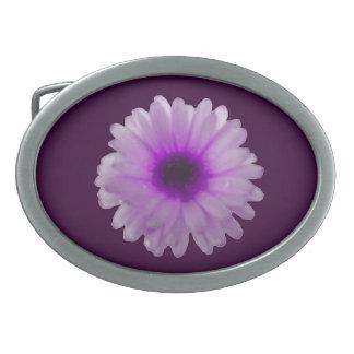 White and Purple Marigold Belt Buckle