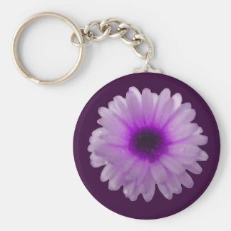 White and Purple Marigold Keychain