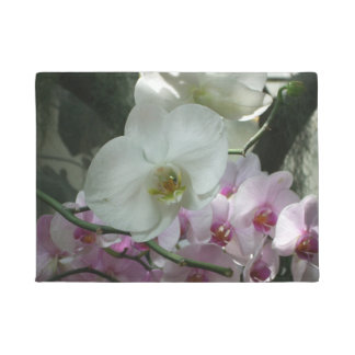 White and Purple Orchids Doormat