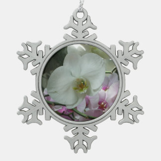 White and Purple Orchids Pewter Snowflake Decoration