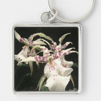 White and Purple Orchids Silver-Colored Square Key Ring